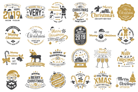 Illustration for Set of Merry Christmas and Happy New Year stamp, sticker set with snowflakes, hanging christmas ball, santa hat, candy. - Royalty Free Image