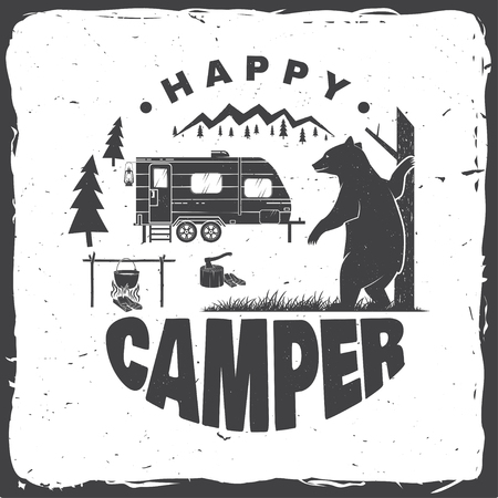 Ilustración de Happy camper. Vector illustration. Concept for shirt or logo, print, stamp or tee. - Imagen libre de derechos