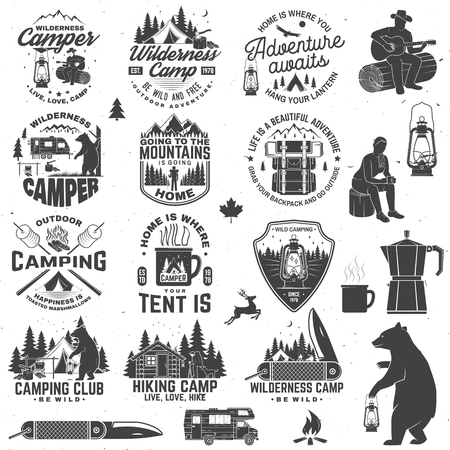 Illustration pour Wilderness camp. Be wild and free. Vector. Concept for badge, shirt or logo, print, stamp, patch. Vintage typography design with trailer, tent, campfire, bear, pocket knife and forest silhouette - image libre de droit