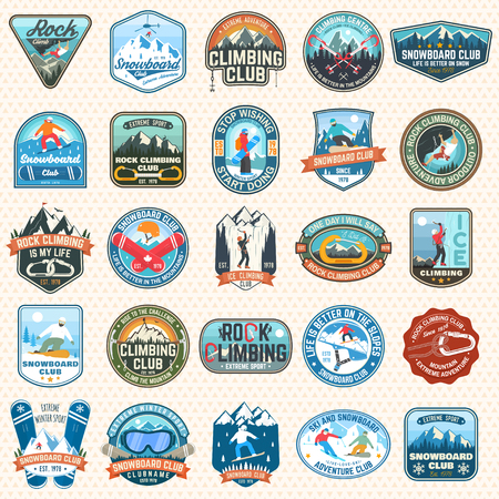 Ilustración de Set of Snowboarding and Rock Climbing club patches. Vector. Concept for patch, shirt, print, stamp or tee. Vintage typography design with snowboarder, climber and mountain silhouette. Extreme sport. - Imagen libre de derechos