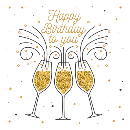 Ilustración de Happy Birthday to you. Stamp, badge, sticker, card with Champagne glasses. Vector. Vintage typographic design for invitations, birthday celebration emblem in retro style - Imagen libre de derechos