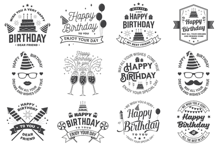 Ilustración de Set of Happy Birthday templates for overlay, badge, sticker, card with bunch of balloons, gifts, firework rockets and birthday cake with candles. Vector. Vintage design for birthday celebration - Imagen libre de derechos