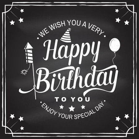 Illustration pour We wish you a very Happy Birthday. Stamp, badge, sticker, card with air balloon, firework rockets and birthday hat. Vector. Vintage design for birthday celebration emblem in retro style - image libre de droit