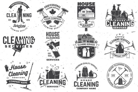 Ilustración de Cleaning company badge, emblem. Vector illustration. Concept for shirt, stamp or tee. Vintage typography design with cleaning equipments. Cleaning service sign for company related business - Imagen libre de derechos