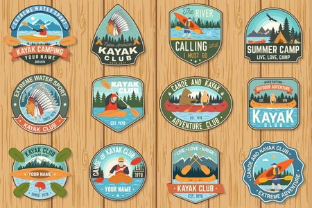 Ilustración de Set of canoe and kayak club badges Vector. Concept for patch, shirt, print or tee. Vintage design with mountain, river, american indian and kayaker silhouette. Extreme water sport kayak patches - Imagen libre de derechos