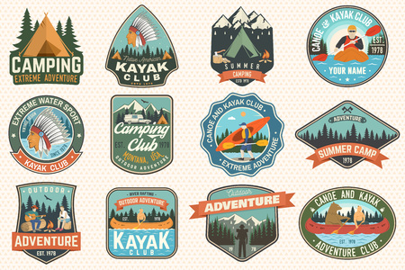 Illustration pour Set of summer camp, canoe and kayak club badges. Vector. Concept for patch. Retro design with camping, mountain, river, american indian and kayaker silhouette. Extreme water sport kayak patches - image libre de droit