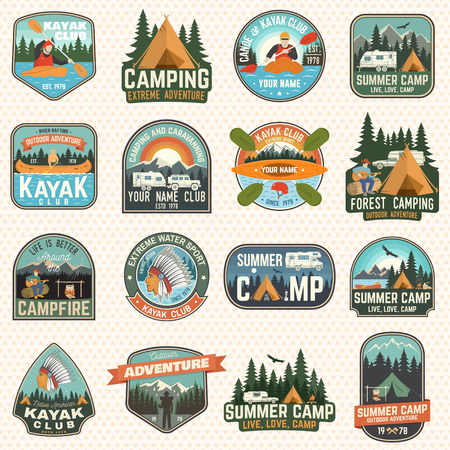 Ilustración de Set of camp and kayak club badges Vector. Concept for patch, print. Vintage design with camping, mountain, river, american indian, camper, kayaker silhouette. Extreme water sport kayak patches - Imagen libre de derechos