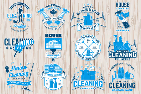 Ilustración de Cleaning company badge, emblem. Vector illustration. Concept for patch, stamp or sticker. Vintage typography design with cleaning equipments. Cleaning service sign for company related business - Imagen libre de derechos