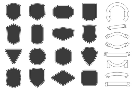 Ilustración de Set of vitage label, badges shape and ribbon baner collections. Vector. Black template for patch, insignias, overlay. - Imagen libre de derechos