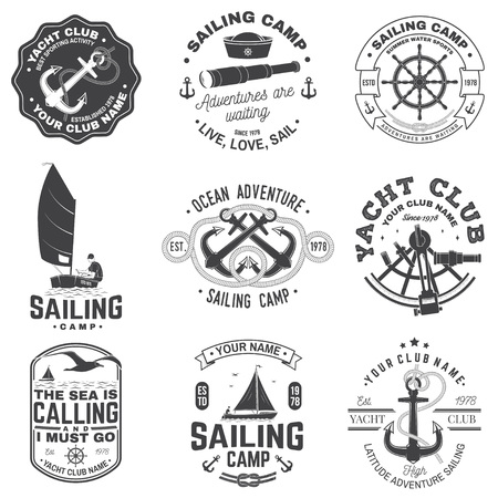 Set of sailing camp and yacht club badge  Vector  Concept