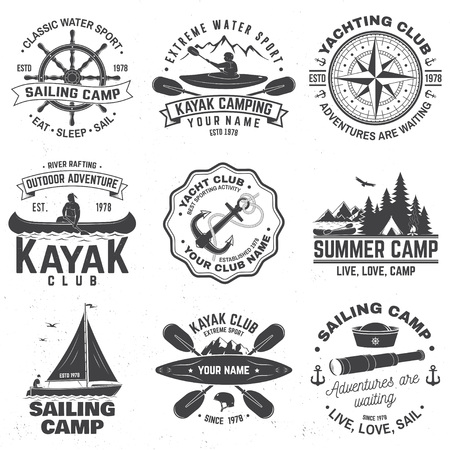 Illustration pour Set of sailing camp, canoe and kayak club badges. Vector. Concept for shirt, print, stamp or tee. Vintage typography design with mountain, river, kayaker silhouette. Extreme water sport. - image libre de droit