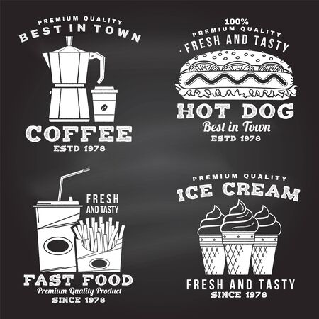 Ilustración de Set of fast food retro badge design on the chalkboard. Vintage design with hod dog, coffee, ice cream, french fries for pub or fast food business. Template for packaging and menu - Imagen libre de derechos