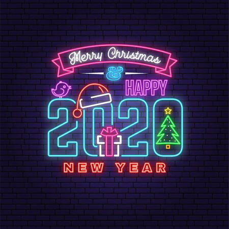 Illustration for Merry Christmas and 2020 Happy New Year neon sign with christmas tree, gift, santa hat, bird. Vector. Neon design for xmas, new year emblem, bright signboard, light banner. Night signboard - Royalty Free Image