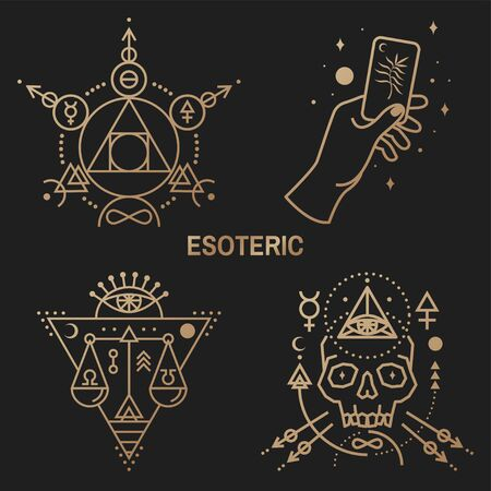 Illustration pour Gold esoteric symbols. Vector. Thin line geometric badge. Outline icon for alchemy or sacred geometry. Mystic and magic design with philosopher stone, hand, skull and law scale. - image libre de droit