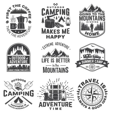 Illustration pour Set of outdoor adventure quotes symbol. Vector illustration. Concept for shirt   print, stamp, tee. Vintage design with marshmallow, axe, mountains, deer, tent, compass and forest silhouette - image libre de droit