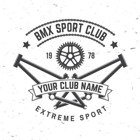 Illustration pour Bmx extreme sport club badge. Vector. Concept for shirt,  print, stamp, tee with frames, chain. Vintage typography design with bmx frames, sprocket silhouette. - image libre de droit