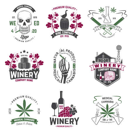 Illustration for Set of wine company and medical cannabis shop badge. Vector. Concept for shirt, print, stamp or tee. Design for winery company, bar, pub, weed shop, marijuana delivery - Royalty Free Image