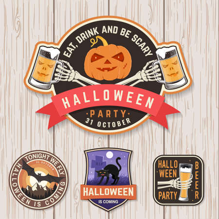Illustration for Halloween Beer party patch. Halloween retro badge, pin. Sticker for  print, seal. Scarecrow with raven, pumpkin, skeleton hand with glass of magic beer. - Royalty Free Image