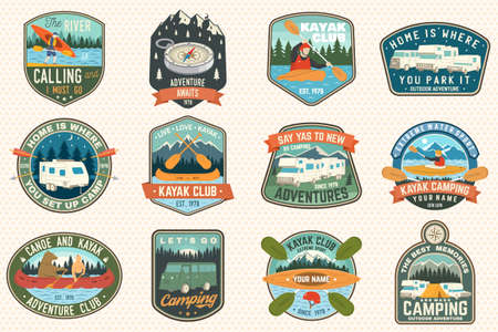 Illustration pour Set of summer camp, canoe and kayak club badges. Vector. For patch. Design with camping, mountain, river, american indian and kayaker silhouette. Extreme camp and water sport kayak patches - image libre de droit