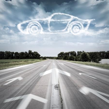 Photo pour The arrow points to the desired vehicle - image libre de droit