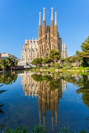 BARCELONA, SPAIN - JUNE 7, 2015: Expiatory Temple of the Holy Family. View of the Sagrada Familia a large Roman Catholic church designed by catalan architect Antonio Gaudi . Barcelona. Spain