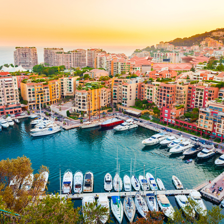 Photo for Panoramic view of Port de Fontvieille in Monaco. Azur coast. - Royalty Free Image