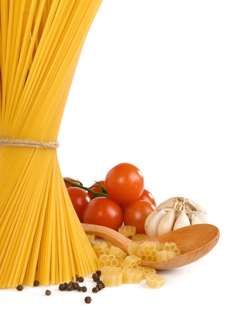 raw pasta and healthy food isolated on white backgroundの写真素材