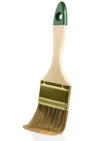 wooden paintbrush isolated on white background