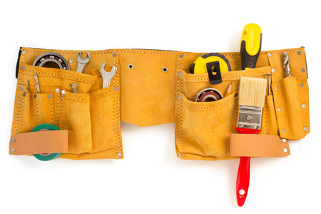 Photo pour tools and instruments in belt isolated on white background - image libre de droit