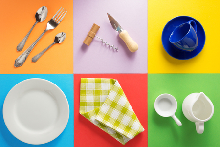 Photo pour kitchenware at abstract colorful background - image libre de droit