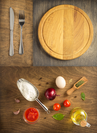 food ingredients and spices with cutting pizza board at wooden table, top view