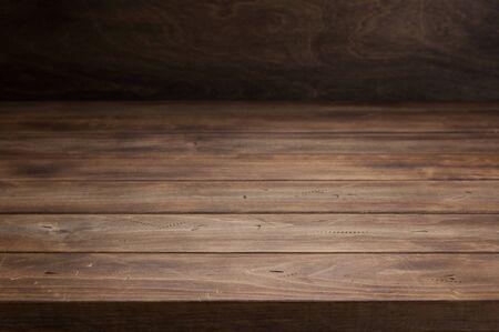 Photo pour empty wooden table in front, plank board background texture surface - image libre de droit