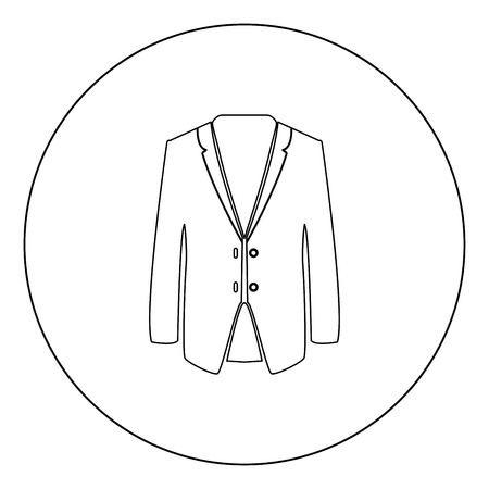 Business suit black icon in circle vector illustration isolated flat style .