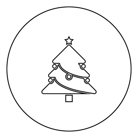 Christmas Tree black icon in circle outline vector illustration isolated