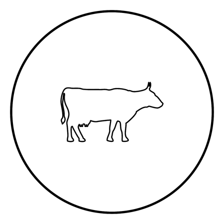 Cow icon set in circle outline vector illustration image
