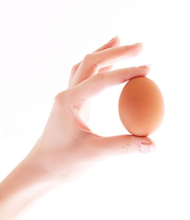 egg in hand isolated on white