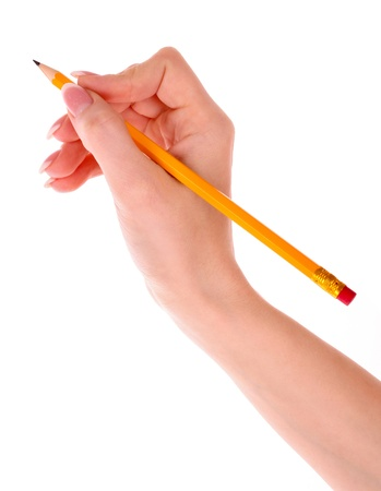 Pencil in hand isolated on white