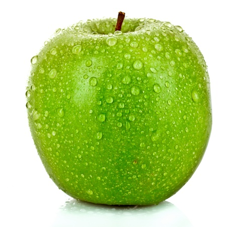 Green apple with water drops isolated on white