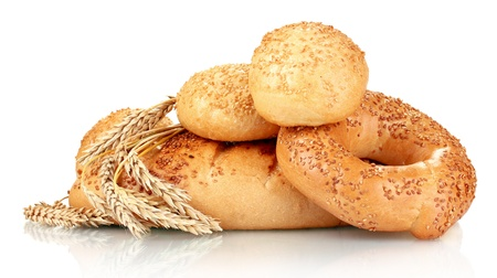 bread and buns with sesame seeds and spikelets isolated on white