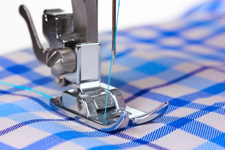 sewing machine and blue fabric