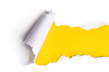 Photo pour Torn paper with yellow background - image libre de droit