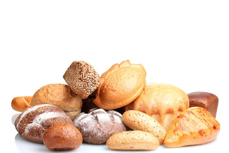 tasty breads and rolls isolated on white