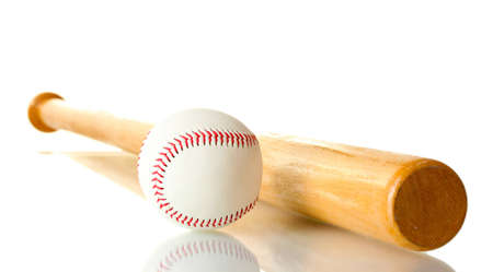 baseball ball and bat isolated on whiteの写真素材