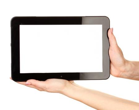 Photo pour woman hands holding a tablet isolated on white - image libre de droit