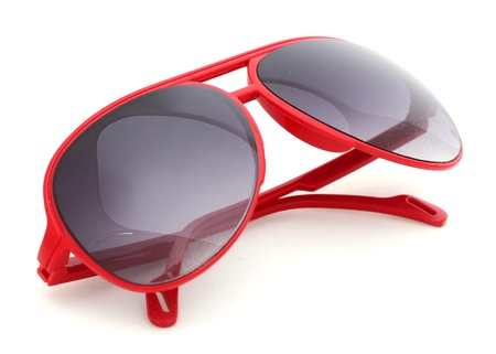 Women glamorous red sunglasses isolated on white
