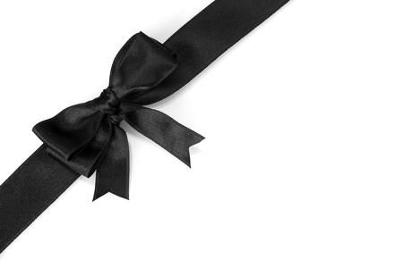 black bow on ribbon isolated on white