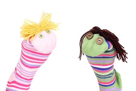 Cute sock puppets isolated on white