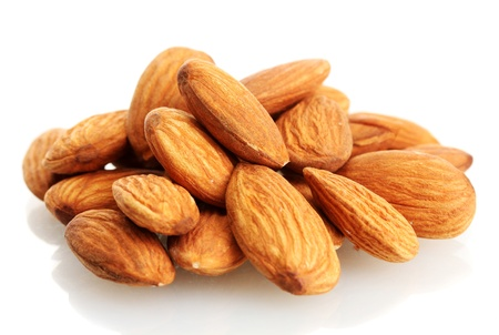 tasty almonds nuts, isolated on white