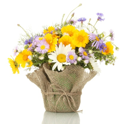 beautiful bouquet of bright  wildflowers in flowerpot, isolated on white