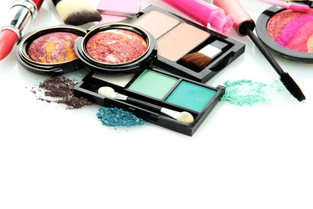 beautiful decorative cosmetics, isolated on whiteの写真素材